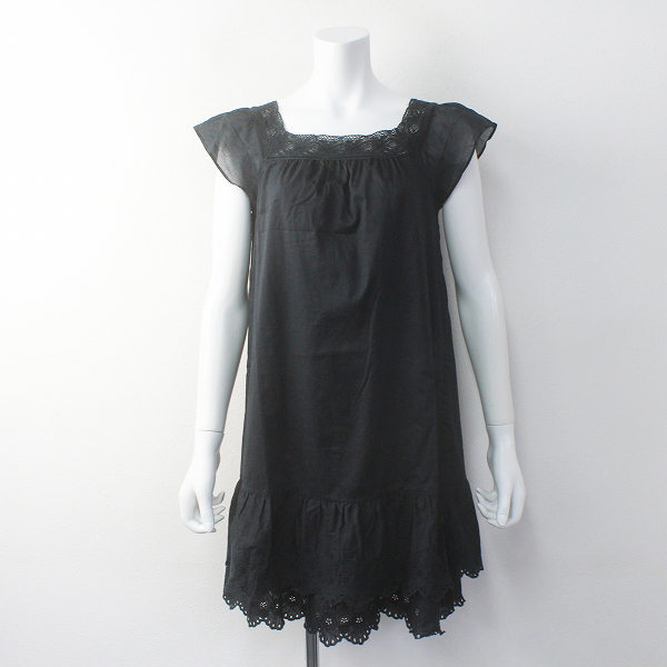 Techichi テチチ レース刺繍 ノースリーブ フレア ワンピース M/ブラック チュニック ドレス ガーリー【2400011675958】