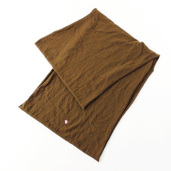 mina perhonen ミナペルホネン cozy ワンポイント刺繍 アンゴラ100% ニットスヌード F/茶 マフラー【2400011676214】