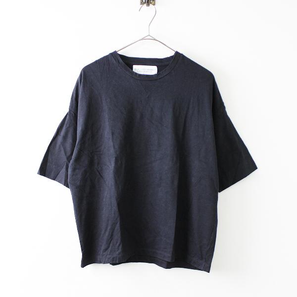 BLUE LAKE MARKET ブルーレイクマーケット コットンストレッチ 無地 Uネック Tシャツ /ブラック【2400011676733】
