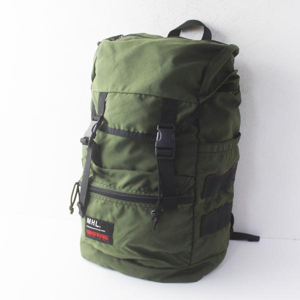 定価3.9万 MHL.×BRIEFIN マーガレットハウエル ブリーフィング DAYPACK///カーキ リュックサック 鞄【2400011677495】