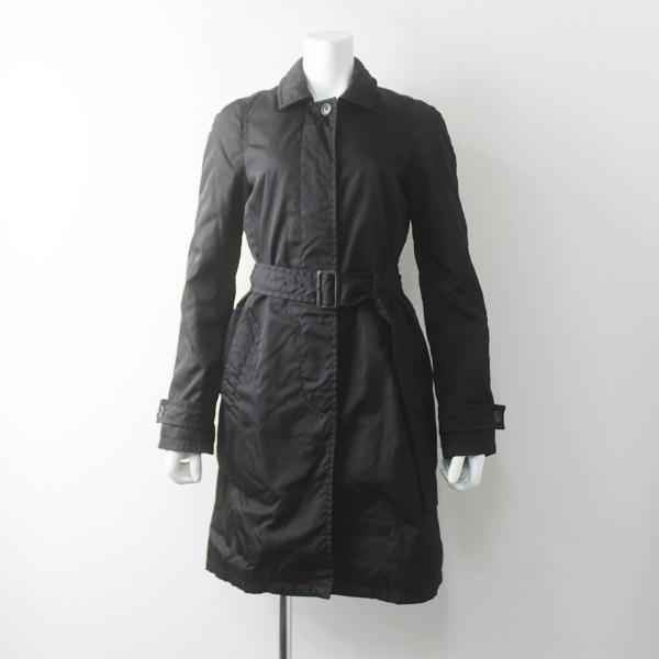 PRADA プラダ 中綿入り ナイロン ステンカラー コート 38///ブラック アウター 上着 長袖【2400011677549】