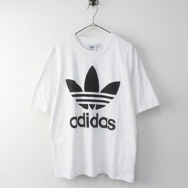 adidas アディダス ロゴ コットン オーバーサイズ Tシャツ M/ホワイト トップス【2400011678430】