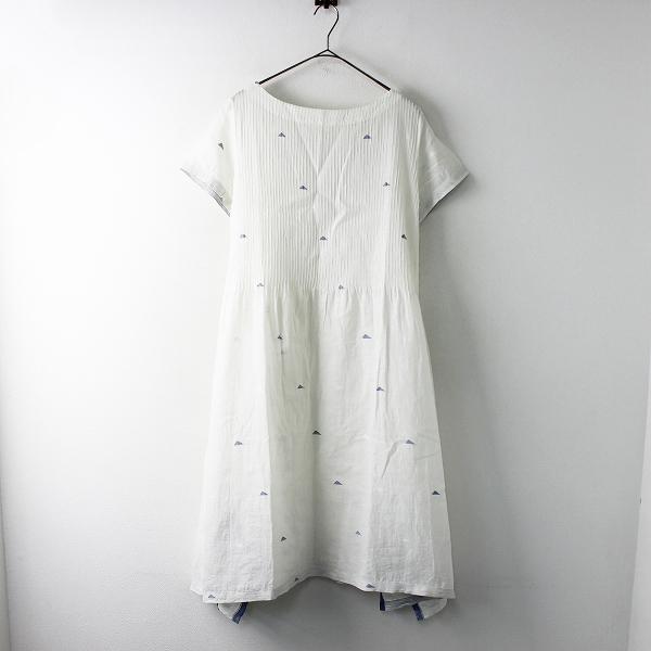 美品 2019SS maku textiles マクテキスタイルズ カディコットン ピンタック フレアワンピース L/アイボリー【2400011679673】