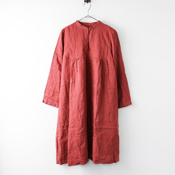nest Robe ネストローブ 染色加工 リネン スキッパー フレアシルエット ワンピース F/レッド 麻 幅広【2400011681423】