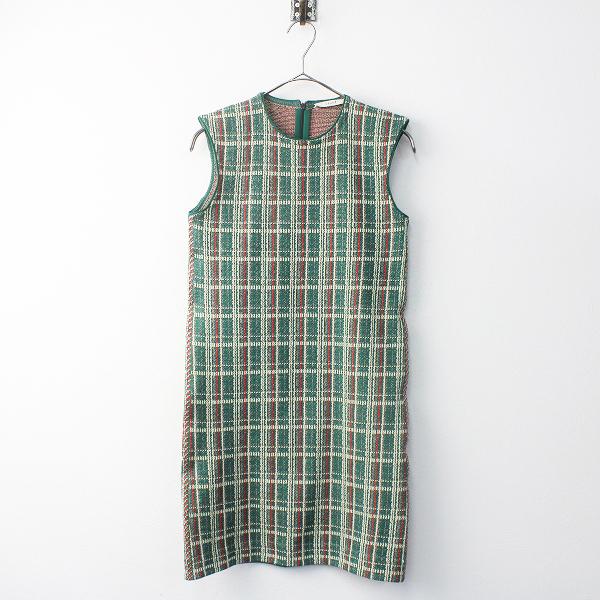 CELINE セリーヌ チェック織り ノースリーブ ワンピース M///グリーン 緑【2400011681652】