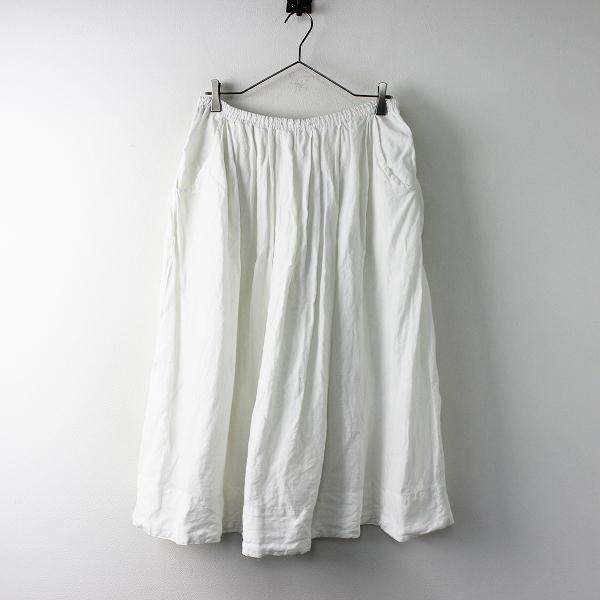 a+koloni アラクリティーコロニー リネンロングギャザースカート F/ホワイト フレア ミモレ丈【2400011681973】