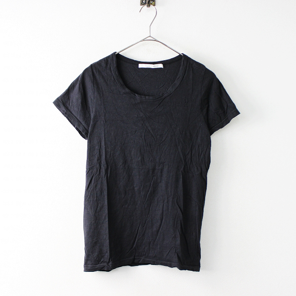 harmonie アルモニ コットン ハーフスリーブ カットソー FREE/ブラック トップス Tシャツ 半袖【2400011683052】