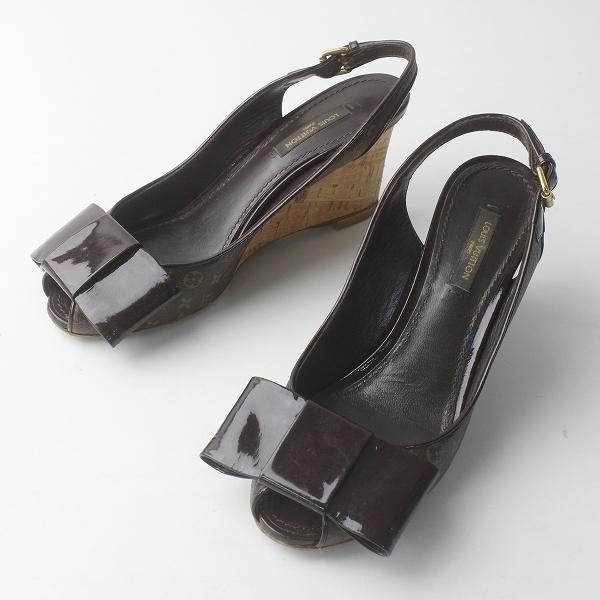 LOUIS VUITTON ルイヴィトン モノグラム ミニコルク ウェッジ リボンサンダル 36///シューズ 靴【2400011683267】