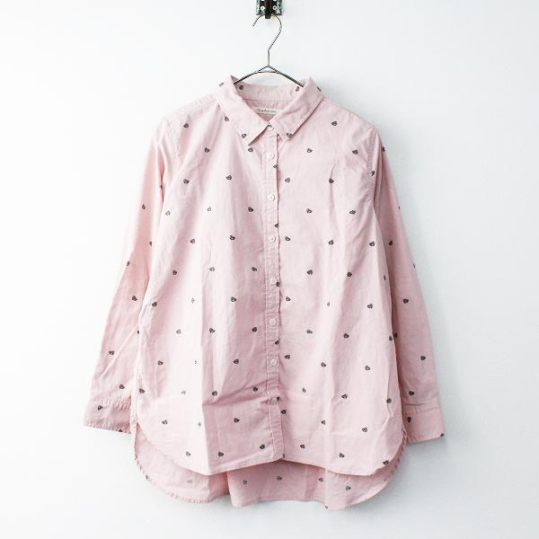 美品 大きいサイズ Sunny clouds サニークラウズ 桜餅シャツ LL/ピンク コットン 長袖 トップス ブラウス 【2400011683885】