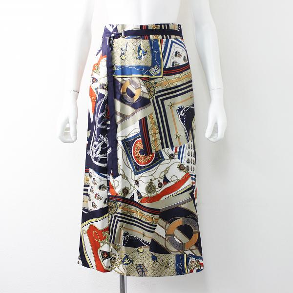 新品 2019SS 春夏 定2.3万 Lois CRAYON ロイスクレヨン スカーフコラージュプリントラップスカートM【2400011683908】