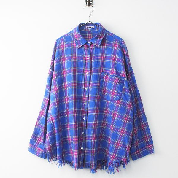大きいサイズ 2017AW PUNYUS プニュズ ダメージチェックシャツ 3/ブルー トップス 渡辺直美さん【2400011684042】