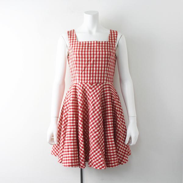 Lois CRAYON ロイスクレヨン ギンガムチェック フレア ノースリーブ ワンピース M/レッド 赤 ドレス【2400011684370】