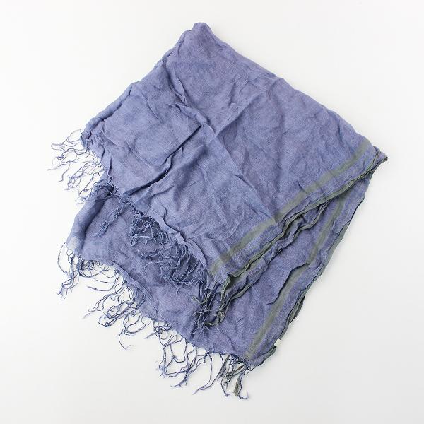 soil ソイル リネン フリンジストール/ブルー マフラー 襟巻き 小物 アクセサリー【2400011685360】