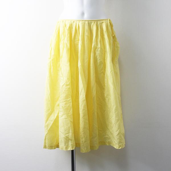 Lois CRAYON ロイスクレヨン ギンガム ギャザー スカート ペチコート付き M/イエロー ボトムス【2400011685766】