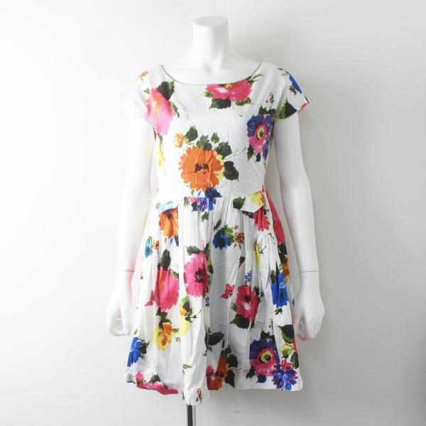 Lois CRAYON ロイスクレヨン フラワープリント フレアワンピース M/ホワイト ドレス セレモニー【2400011685889】