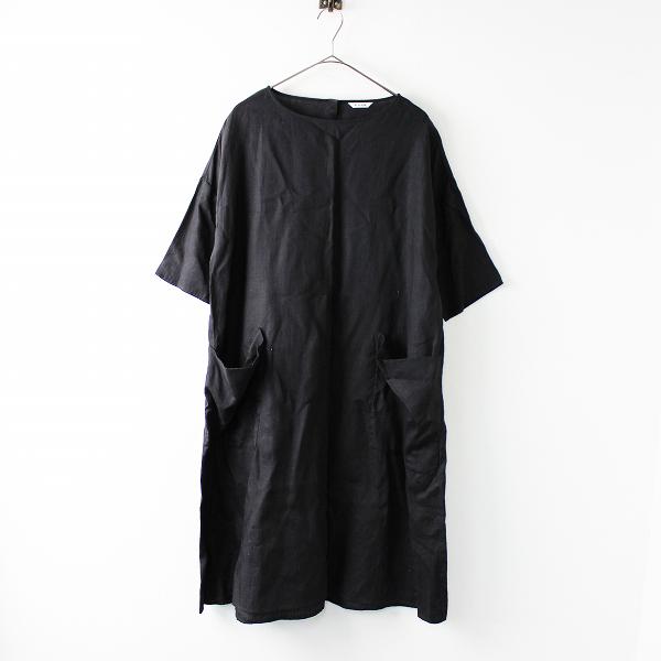 2017SS le glazik ルグラジック jl-3617 LINEN CLOTH POCKET ONEPIESE リネン ポケットワンピース36/ブラック ドレス【2400011686961】
