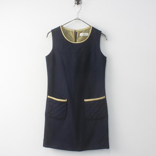 Lois CRAYON ロイスクレヨン キルティングポケット ノースリーブワンピースM/ネイビー 裾ゴールドボタン【2400011687074】