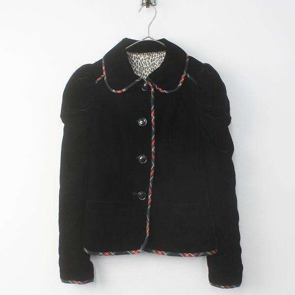 Lois CRAYON ロイスクレヨン チェックパイピング ベロア バックリボン シングルジャケット M/ブラック ベルベット【2400011687111】