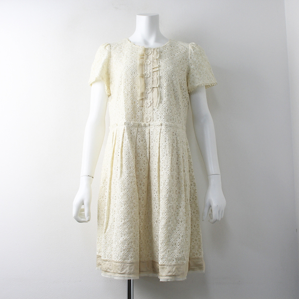 Lois CRAYON ロイスクレヨン カットワーク レース 刺繍 ワンピース M/アイボリー ドレス【2400011687999】
