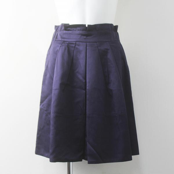 Lois CRAYON ロイスクレヨン バックリボン サテン タックフレア スカート M/ネイビー ボトムス ウエストゴム【2400011688088】
