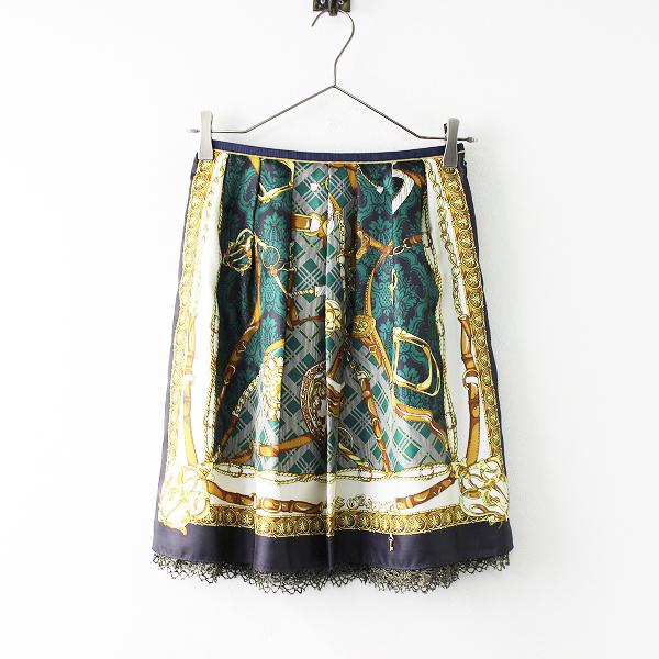 定番 人気 Lois CRAYON ロイスクレヨン スカーフプリント サテン素材 スカートM/チェーン パネル【2400011688392】