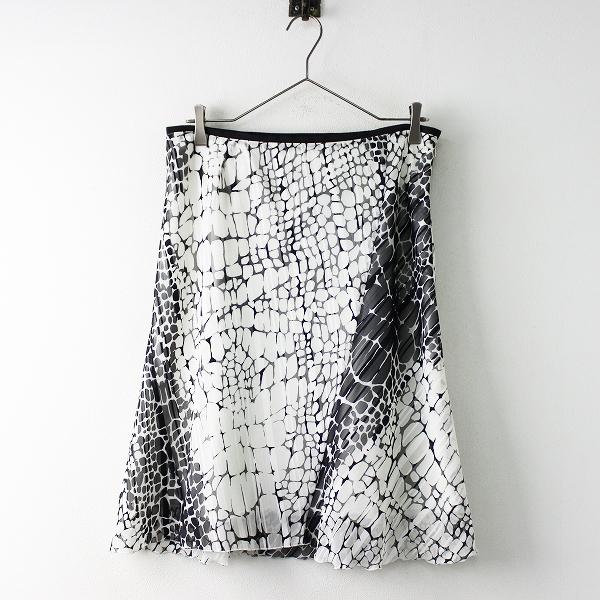 大きいサイズ INDIVI 総柄ポリエステルスカート 44/ブラック ホワイト【2400011688477】