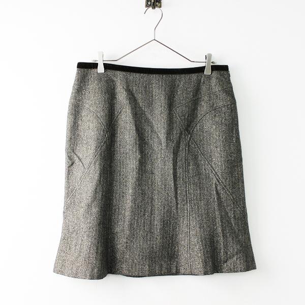 大きいサイズ 22 OCTOBRE ヴァンドゥーオクトーブル ラメ使いヘリンボーンスカート 46/カーキ【2400011688491】