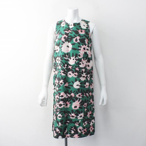 国内正規品 2014SS MARNI マルニ フラワープリント バックジップ ノースリーブワンピース38/グリーン ドレス 花柄【2400011689023】