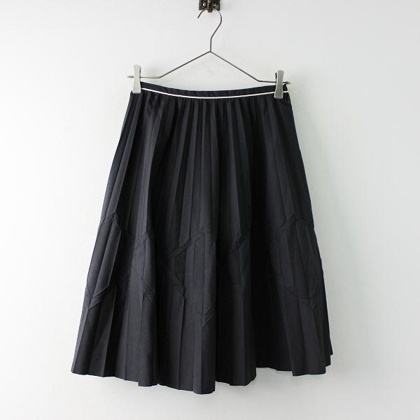 Lois CRAYON ロイスクレヨン プリーツフレアスカート M/ブラック 膝丈【2400011689092】