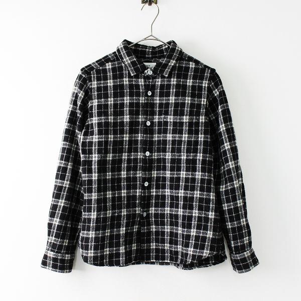 RINEN リネン ウールチェックシャツ 1/ブラック×ホワイト トップス ブラウス 長袖 マエアキ【2400011689160】