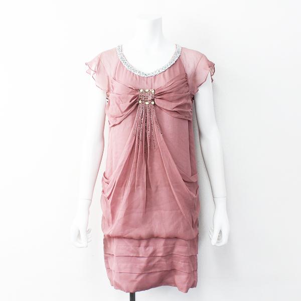 GRACE グレース スパンコール装飾 シルクジョーゼット ノースリーブドレス36///ピンク パーティーにも【2400011689399】