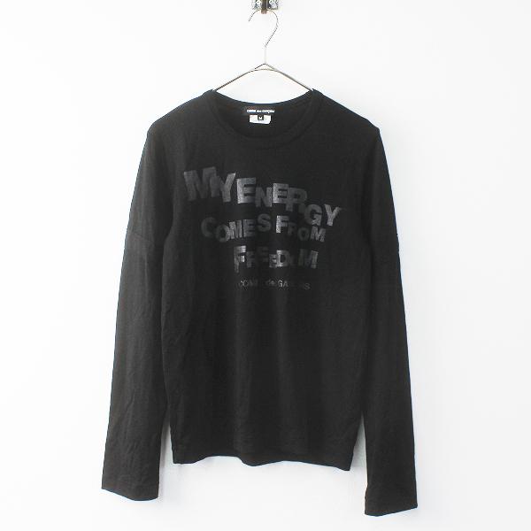 美品 AD2014 COMME des GARCONS コムデギャルソン MY ENERGY プリント 袖切替ウールTシャツ M/ブラック カットソー 長袖【2400011691682】