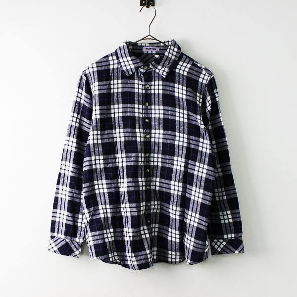 PUNYUS プニュズ コットン 長袖 チェックシャツ 1/ネイビー ホワイト トップス 【2400011691859】