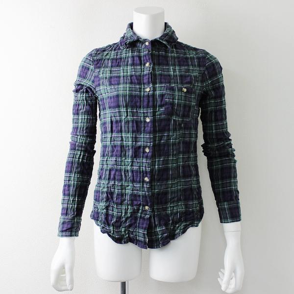 L'Appartement Deuxieme Classe アパルトモン ワイヤー襟 コットンチェックシャツ 34/グリーン ネイビー トップス【2400011693228】