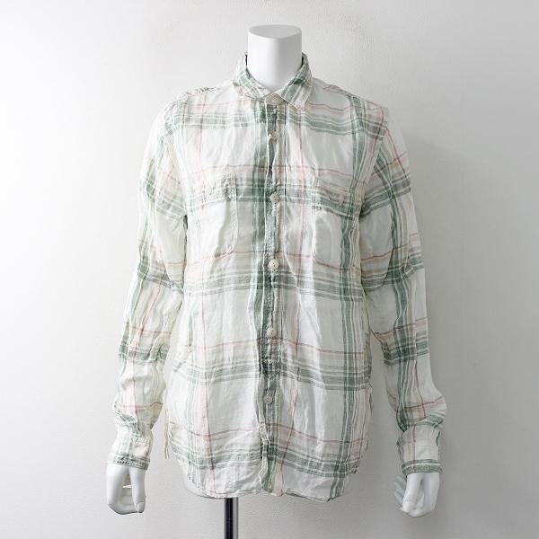 美品 journal standard luxe ジャーナルスタンダードラックス リネンチェックシャツ S/ホワイト グリーン ブラウス【2400011693389】