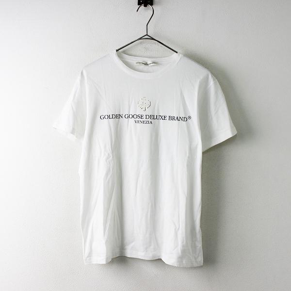 定価2.2万 2018SS Deuxieme Classe ドゥーズィエムクラス GOLDEN GOOSE LOGO WHITE Tシャツ Free/ホワイト ロゴ【2400011693884】-.