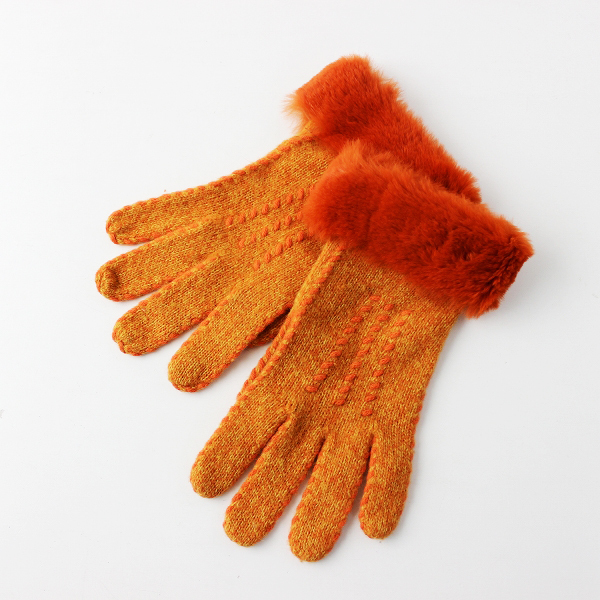 【期間限定30%OFF】FENDI フェンディ 高級ウール ファー付き 手袋/オレンジ ニットグローブ【2400011694713】