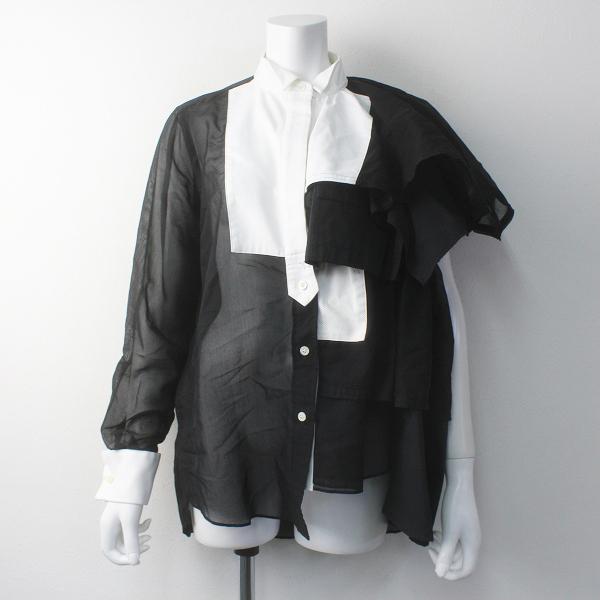 定価7.4万 2019SS コレクション sacai サカイ 19-04399 フリルアシンメトリーシャツ 1/ブラック ブラウス 変形【2400011695666】-.