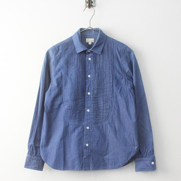 Drawer ドゥロワー インディゴピンタックシャツ 36/ブルー ヨーク切替 ブラウス トップス【2400011696205】