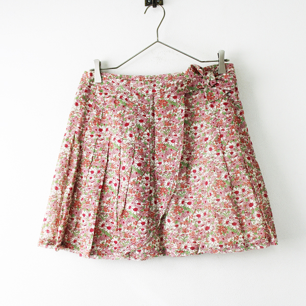 美品 Jane Marple ジェーンマープル ウエストリボン フラワープリント ラップスカートM/ピンク【2400011704221】