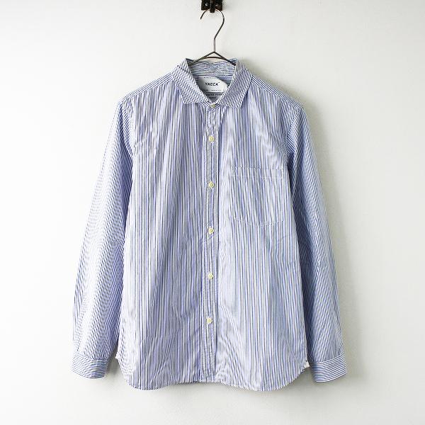 【期間限定30%OFF】メンズ YAECA ヤエカ 駒型ボタン ワイドカラー ストライプ ドレス シャツ S/ブルー トップス【2400011704313】