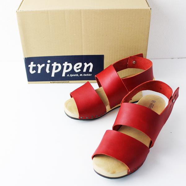 trippen トリッペン Treppe ウッドソール レザーアンクルストラップサンダル 36/レッド 23〜23.5cm【2400011705198】
