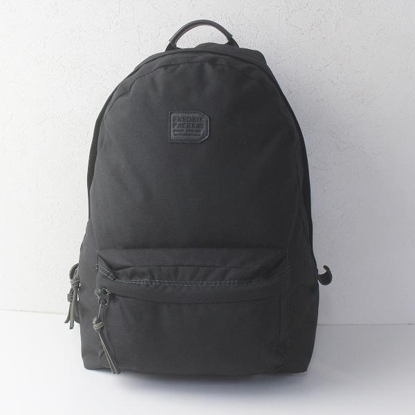 FREDRIK PACKERS フレドリックパッカーズ レザー ロゴパッチ ナイロン デイパック/ブラック 鞄 バッグ【2400011719164】