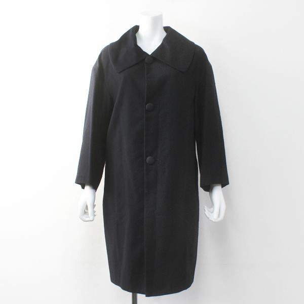 TOUJOURS トゥジュー ビッグカラー ウールシルク ステンカラーコート 1/ブラック コクーンシルエット【2400011720047】