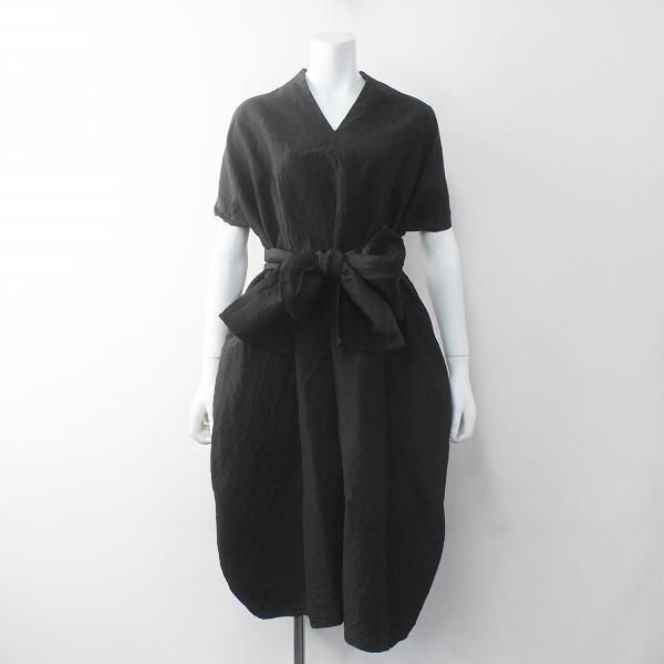 R&D.M.Co- オールドマンズテーラー シルクリネンVネックリボンドレス FREE/ブラック ワンピース【2400011720207】