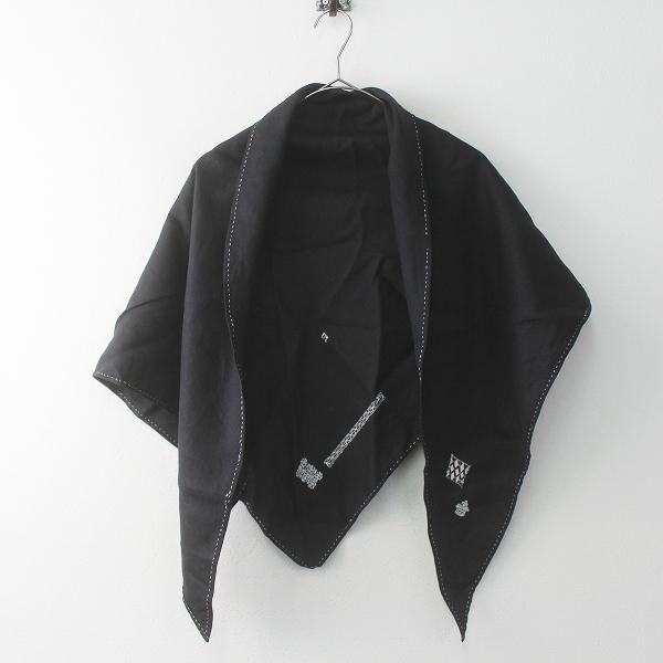 美品 ebagos エバゴス 刺繍 三角 ストール/ブラック 小物 アクセサリー【2400011731685】