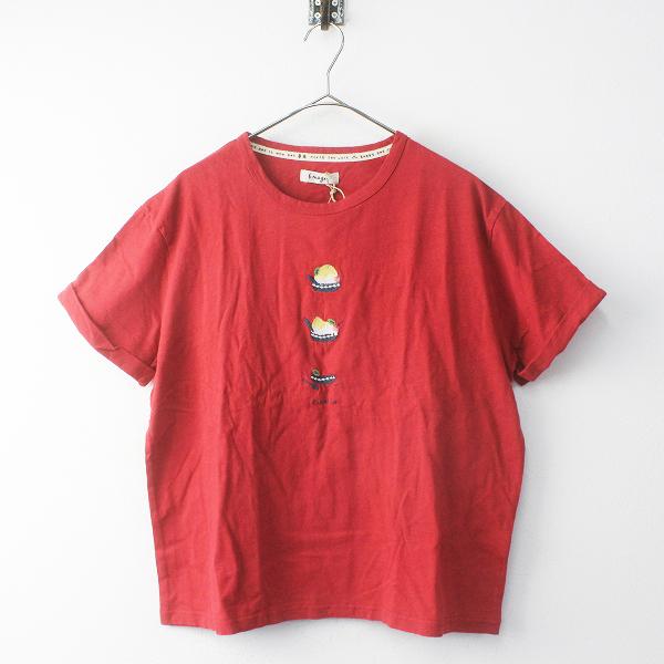 Emago イマゴ コットンリネン かき氷刺繍Tシャツ F/レッド トップス プルオーバー ロールアップスリーブ【2400011731920】