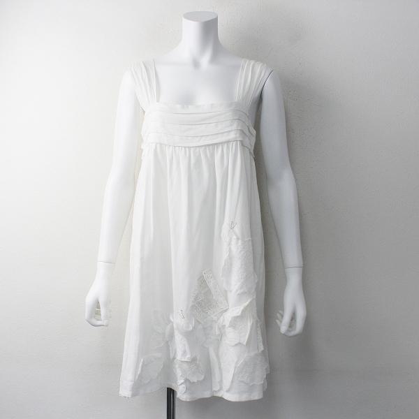 Jane Marple ジェーンマープル ちょうちょ フラワー バックリボン キャミソール ワンピース M/ホワイト フレア【2400011733597】