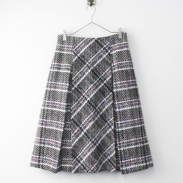 大きいサイズ Rose Tiara ローズティアラ ジュエル タックプリーツ ツイードスカート 42/ブラック フレア【2400011733825】