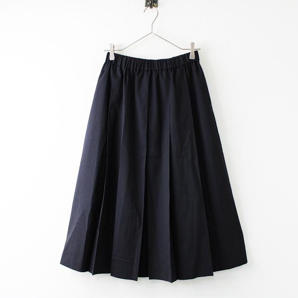 美品 LE GLAZIK ルグラジック ウールプリーツロングスカート 36/ブラック イージー フレア【2400011736512】